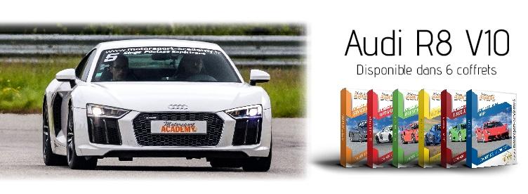 Audi R8 V10 présente dans 6 box pilotage