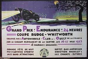 Affiche de 1924 pour le Grand Prix d'Endurance de 24 heures au Mauns